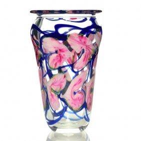 "John Lotton Vase, Flowers, Vines, Clear Body, 10 1/2"""