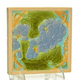 "Rookwood Faience Tile, Grapes, 6"" X 6"""