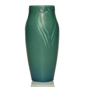 """Rookwood Mat Production Vase, Peacock Feathers, 7"""""""