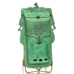 "Rare Hurley Bronze Seahorse Letterbox, 13 5/8"""