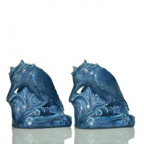 Rookwood Pr Kingfisher Bookends,1929,2657, 5 1/2""
