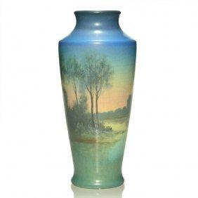 "Rookwood Vellum Scenic Vase, Schmidt, '19, 9 7/8"""