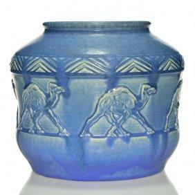 """Rookwood Mat Vase, Camels, '13, Hentschel, 7 7/8"""""""