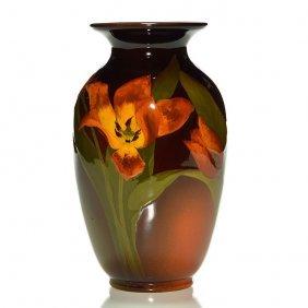 "Rookwood Standard Vase, Tulips, Coyne, 1900, 8"""