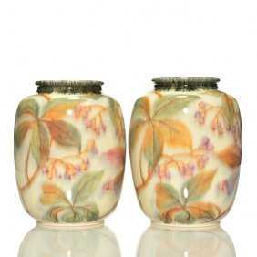 Pair Rookwood Decorated Porcelain,mhm,1936,8 3/8""