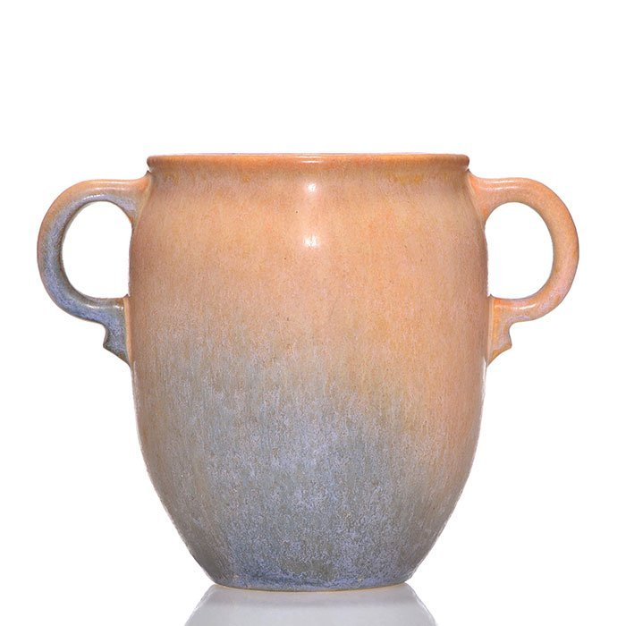 "Roseville Earlam vase, shape 518-6"", tan blue,6"