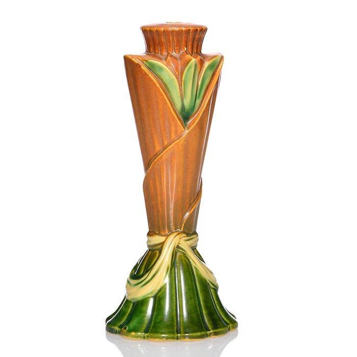 """Roseville lamp base, molded leaf design, 11"""""""