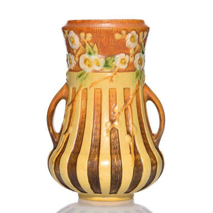 """Roseville Cherry Blossom vase in brown,624, 8 1/8"""""""