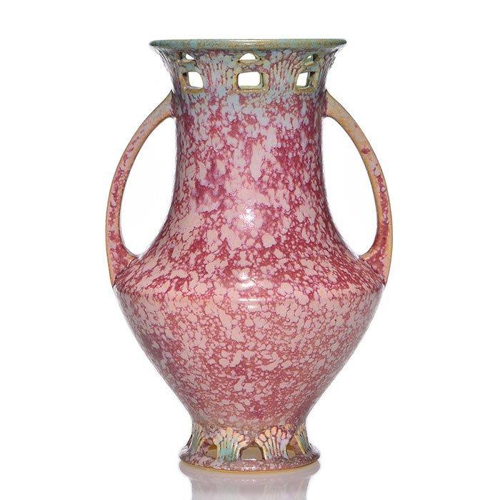 """Roseville Ferella vase, shape 510-9, red, 9 1/8"""""""