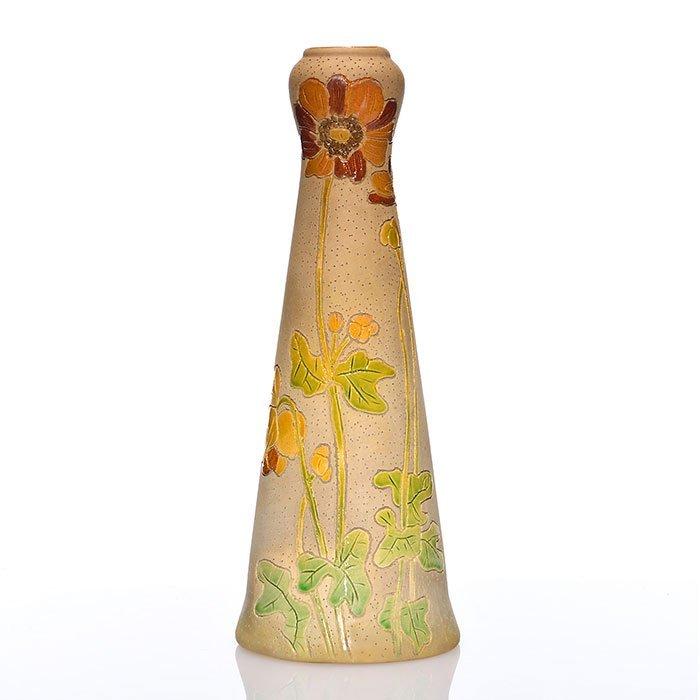 """Roseville Rozane Woodland vase, poppies, 10 3/4"""""""