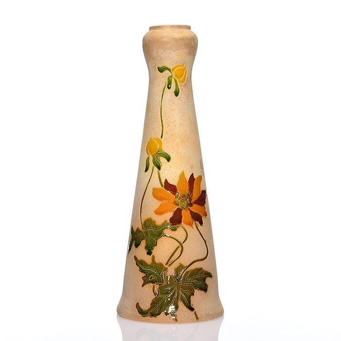 """Roseville Woodland vase, 10 3/4"""", clematis"""