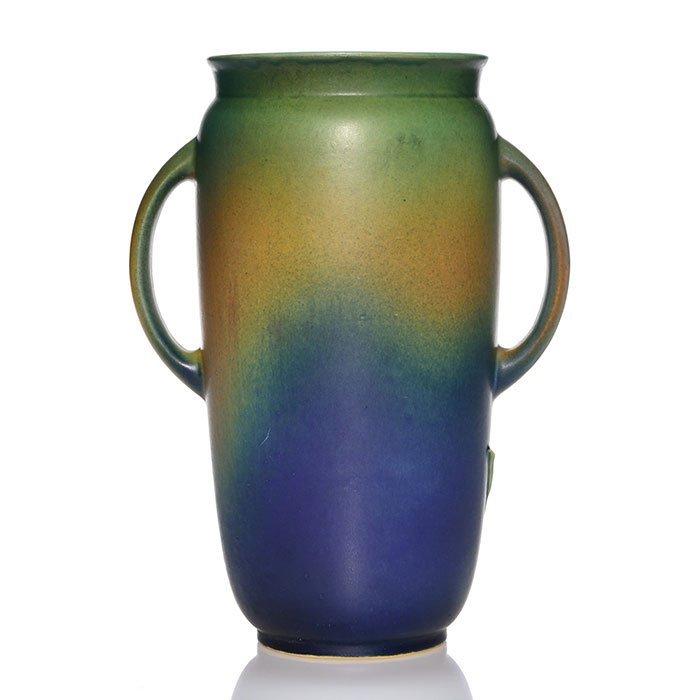 """Roseville Experimental vase, tulips, Barks, 9 3/8"""" - 2"""