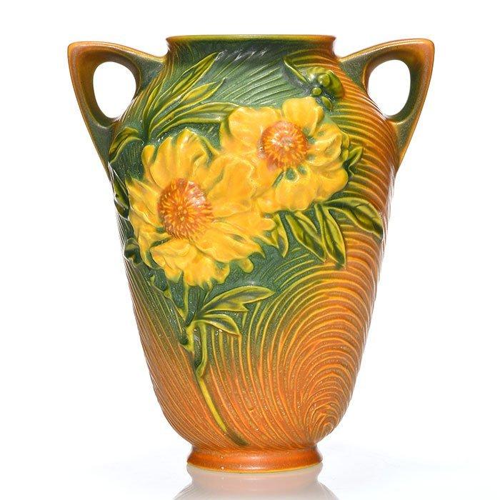 "Roseville Peony Trial glaze vase, 63-8, 8 1/4"""