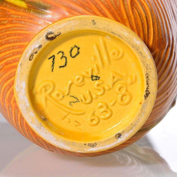 "Roseville Peony Trial glaze vase, 63-8, 8 1/4"" - 3"