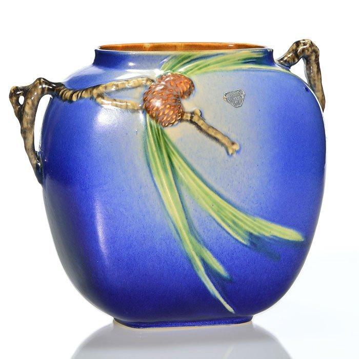 "Roseville blue Pine Cone vase, shape 114-8, 8 1/2"""