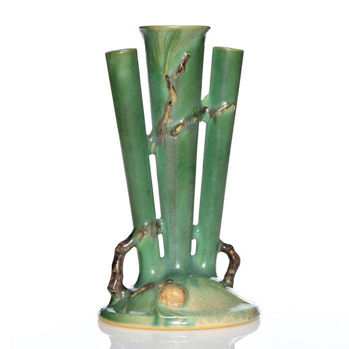 """Roseville Pine Cone triple bud vase, 113-8, 8 1/2"""""""