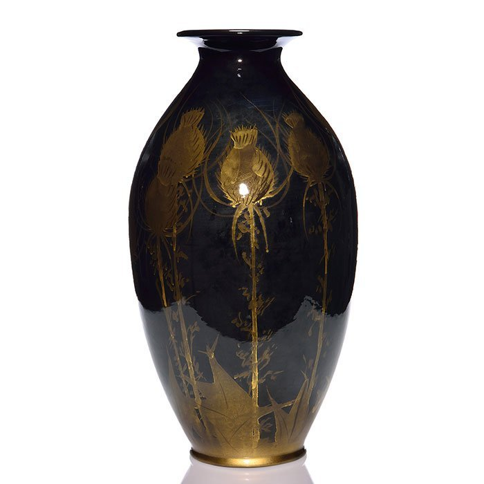 "Decorated Pauleo, gold thistles on jet black, 20 5/8"" - 3"