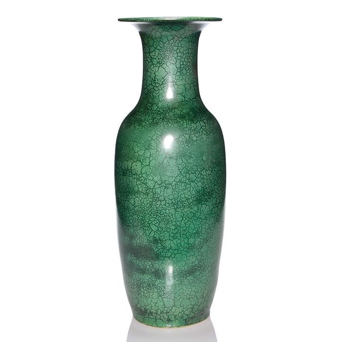 """Roseville Pauleo floor vase, green, 20 1/2"""""""