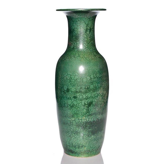 """Roseville Pauleo floor vase, green, 20 1/2"""" - 2"""