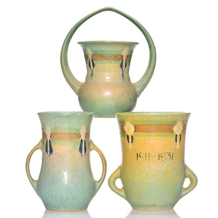 3 Roseville Montacello: vases, basket