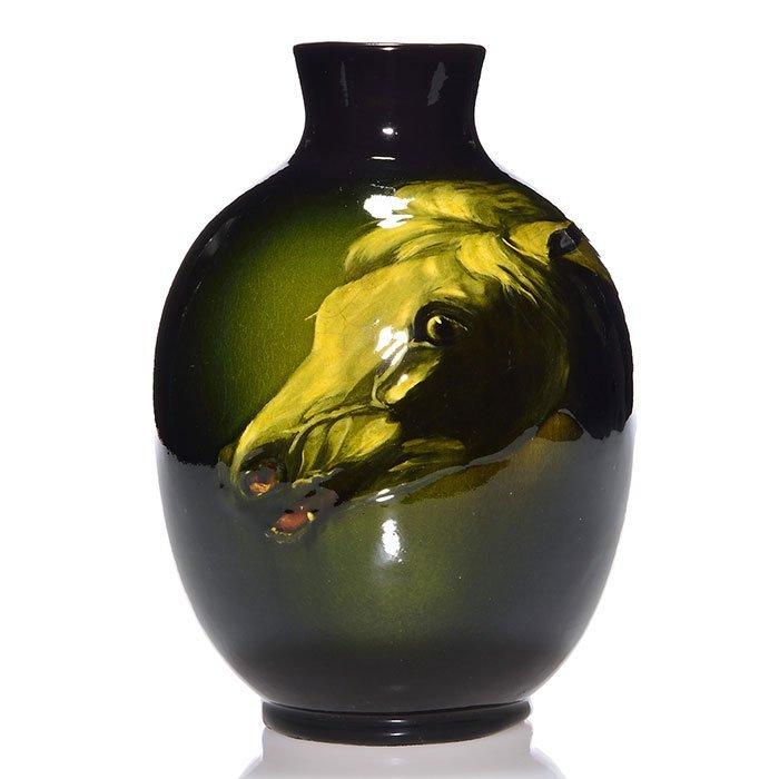 """Roseville Rozane Dark vase, Horse, 9 1/8"""""""