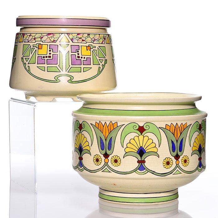 "Roseville Creamware Persian jardiniere, 2, 9 1/4"""