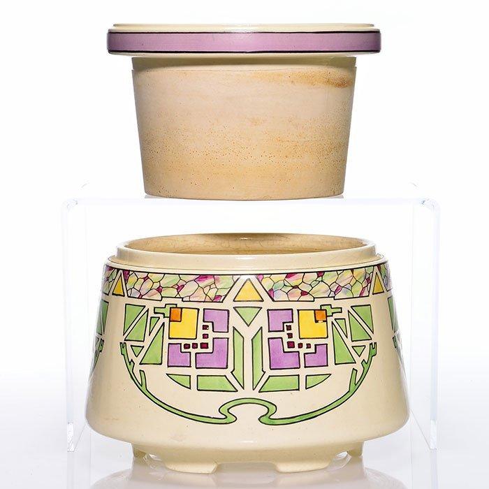 "Roseville Creamware Persian jardiniere, 2, 9 1/4"" - 2"