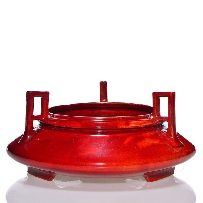 "Roseville Rozane Mongol vase, Copper Red, 5"" x 11"""
