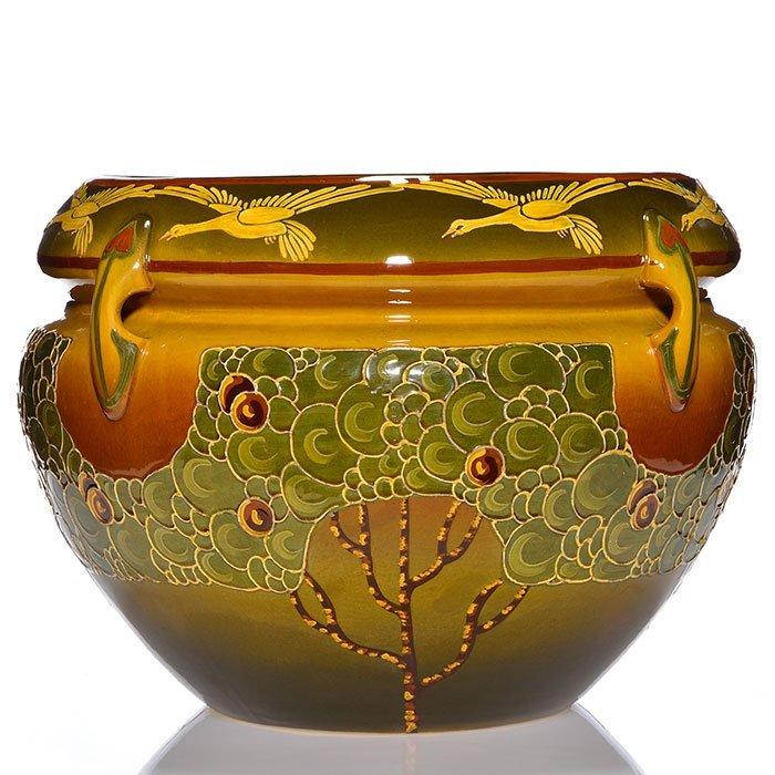 """Roseville Decorated Landscape jard+ped, 41 7/8"""" - 2"""