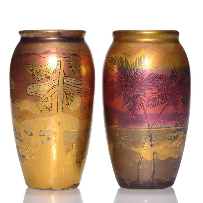 "2 Weller Lasa vases, palm trees, tall pines, 5 3/4"""