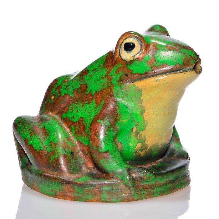 "Weller Coppertone fountain frog, 5 1/4"""