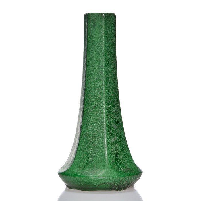 """Weller Matt Green hexagonal vase, 10 1/4"""""""