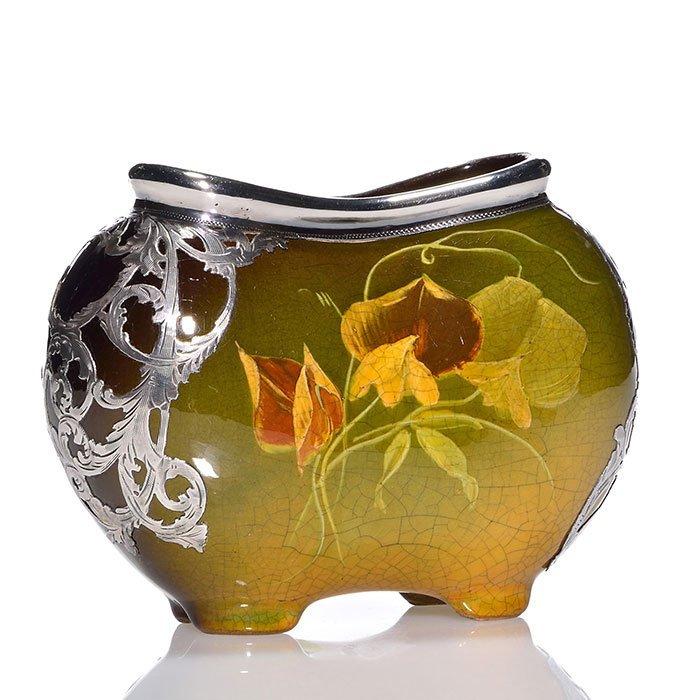 "Weller Louwelsa silver overlay pillow vase, 4 X 5 1/2"""