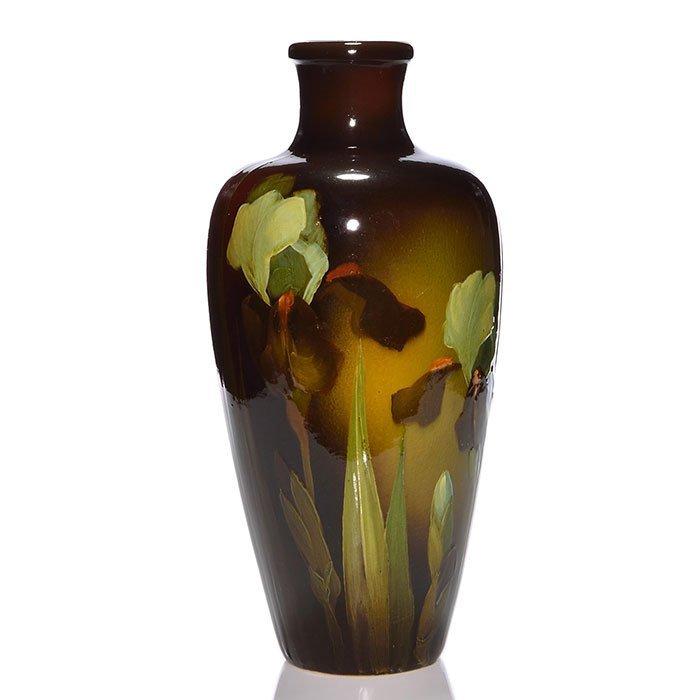 """Weller Louwelsa vase, irises, Ferrell, 14 1/4"""""""
