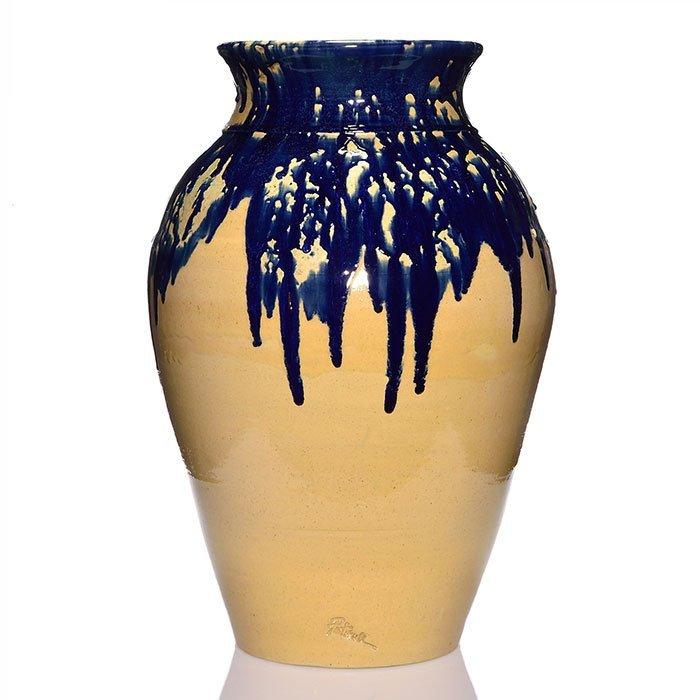 "Zanesville Stoneware Pickrull vase, blue, tan, 27"""