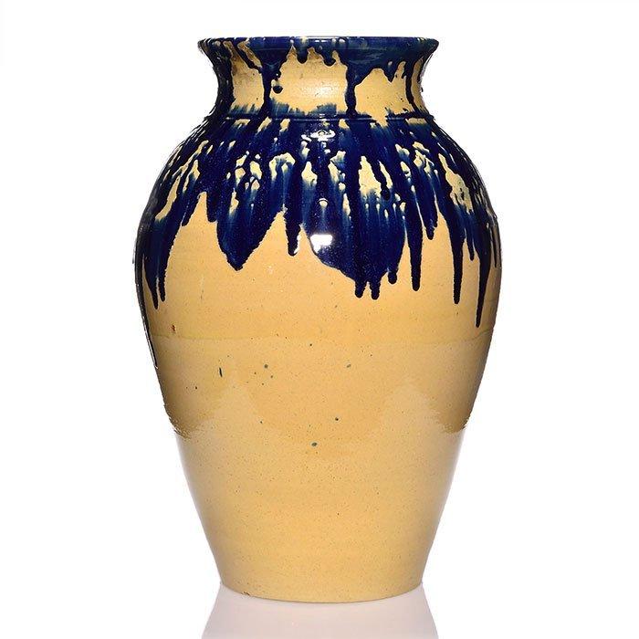"Zanesville Stoneware Pickrull vase, blue, tan, 27"" - 2"
