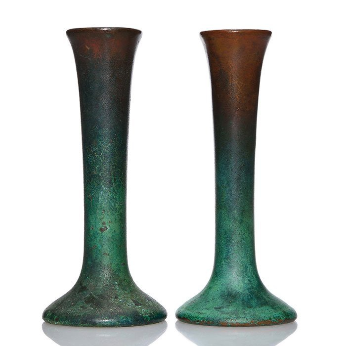 """Pr Clewell Copper Clad candlesticks, 6 1/4"""""""