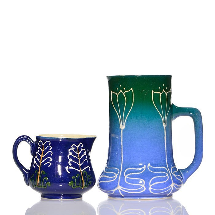 2 Avon Faience pitchers, 5 1/4 & 2 3/4""