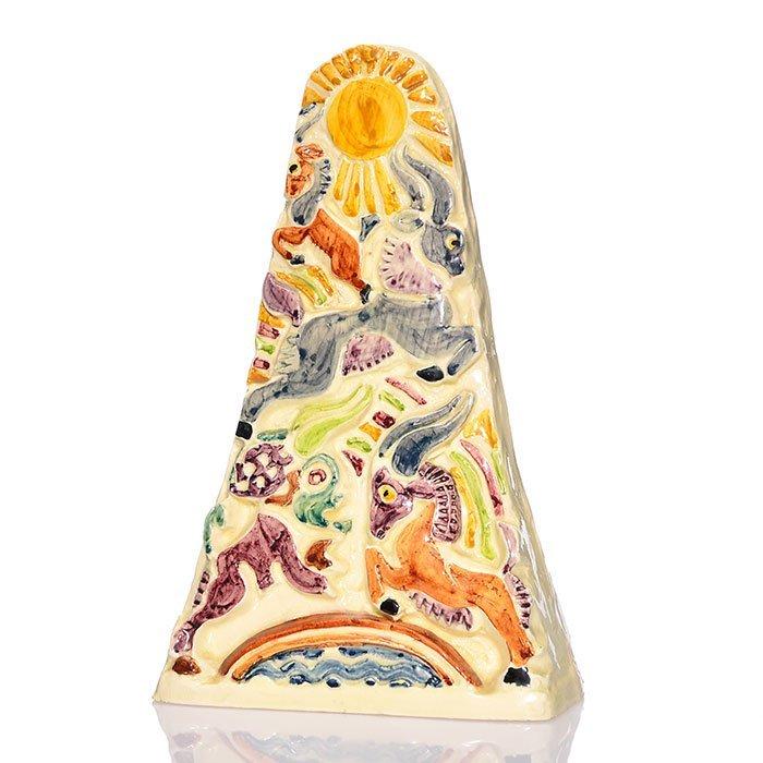 "Shearwater Pottery Obelisk , rams, 11 1/2"""