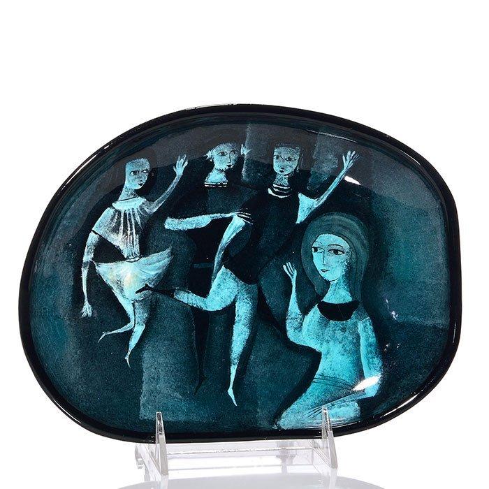 "Polia Pillin tray, dancers, 1 1/8 x 9 1/2 x 7"""