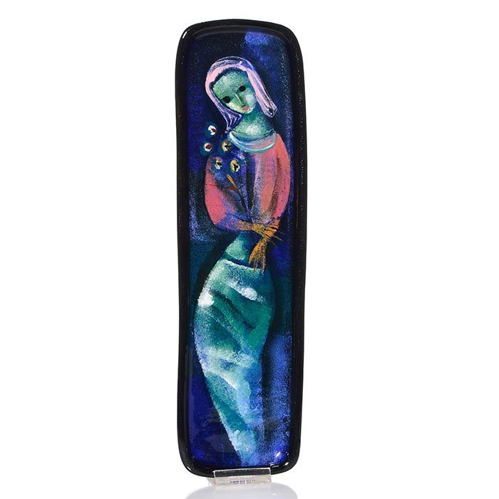 """Polia Pillin tray with a woman with flowers, 12 5/8"""""""