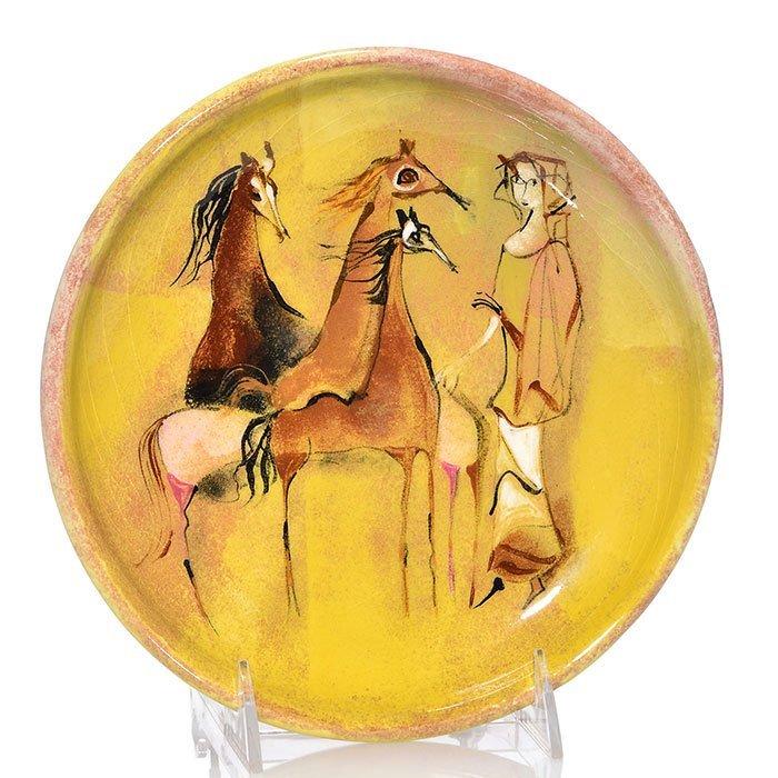 "Polia Pillin tray with woman and three horses, 8 1/4"""