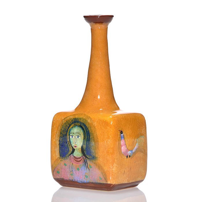 Polia Pillin bottle vase, women, birds, 6 3/4""