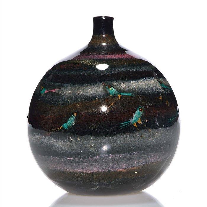 "Polia Pillin bottle vase, birds, 6 1/4"""