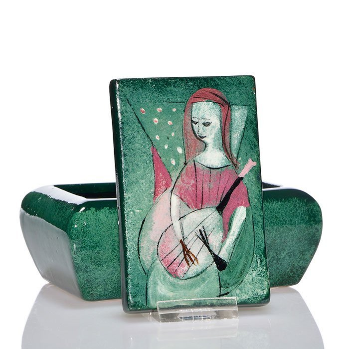 Polia Pillin covered box, woman with lute, 5 1/2""