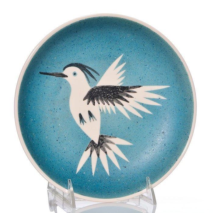 "Waylande Gregory rare hummingbird plate, 8 1/2"""