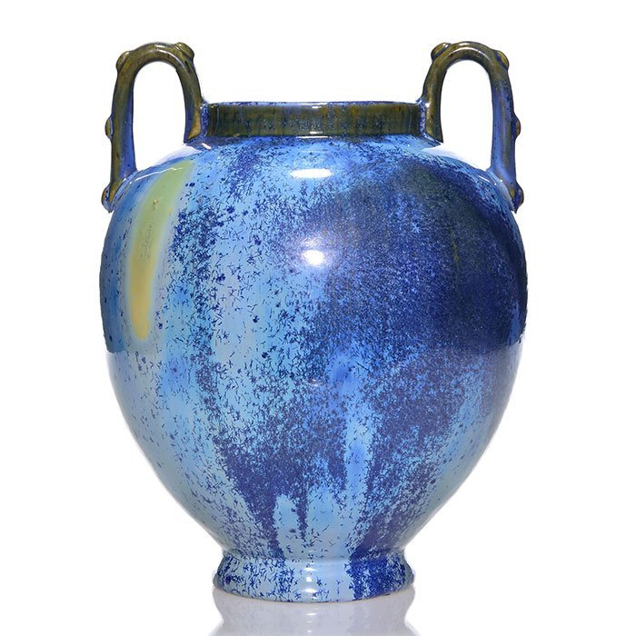 "Large twin handled Fulper vase, blue crystals, 11 3/4"""