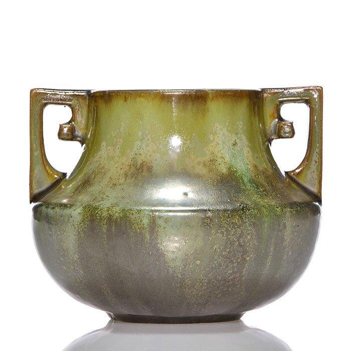 "Fulper early vase, 4 3/4"", Cucumber Crystalline"
