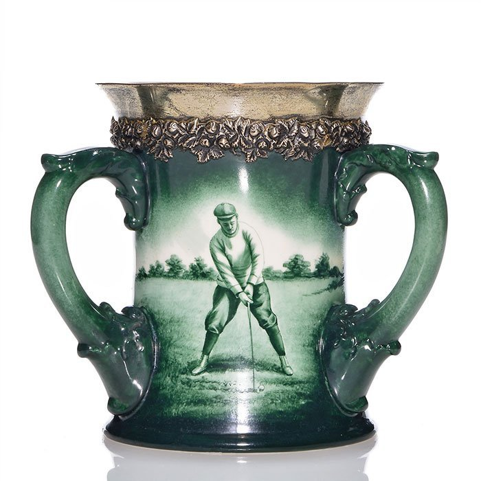 "Lenox golfer tyg with silver insert at rim, 6 1/2"""