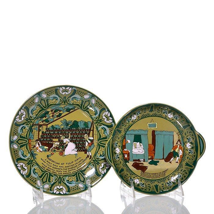 2 Buffalo Emerald Deldare plates, Dr. Syntax
